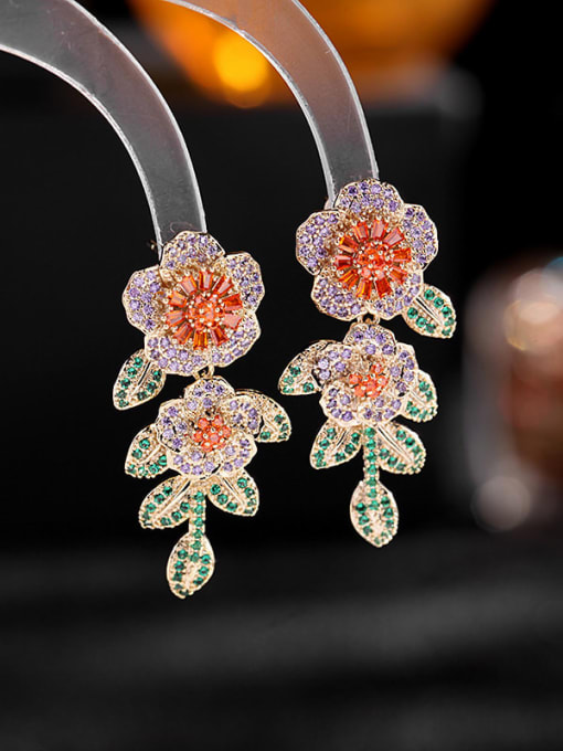 Purple zirconium orange Brass Cubic Zirconia Flower Luxury Drop Earring