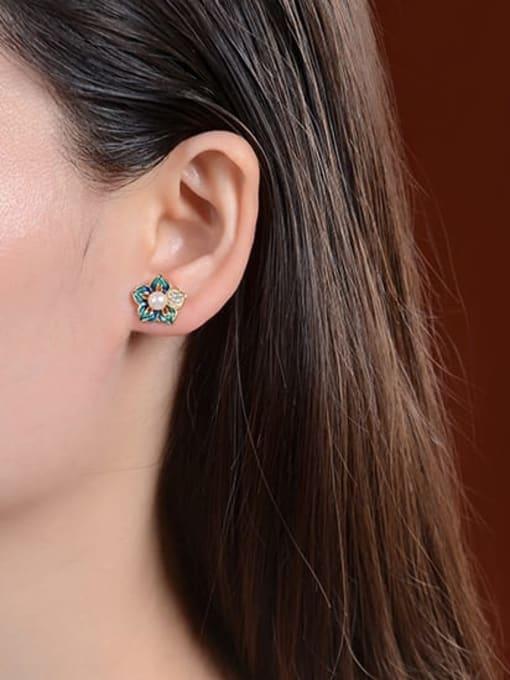 DEER 925 Sterling Silver Imitation Pearl Enamel Flower Vintage Stud Earring 1