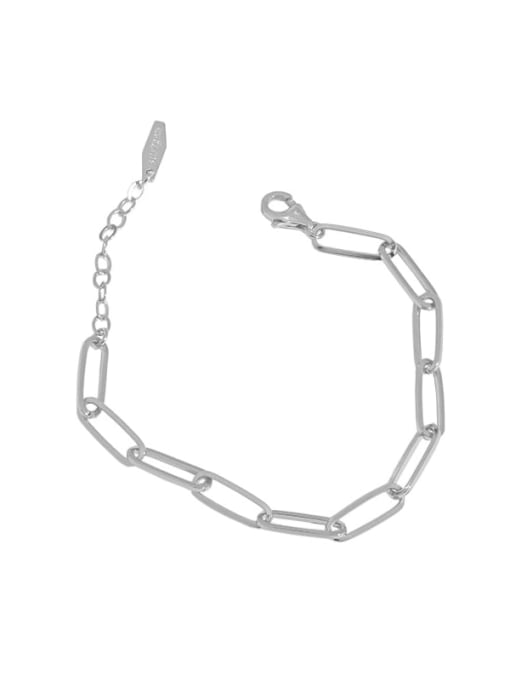 silvery 925 Sterling Silver Hollow Geometric Chain Vintage Link Bracelet