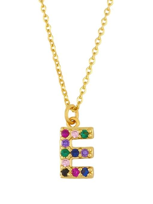 E Brass Cubic Zirconia Letter Vintage Necklace