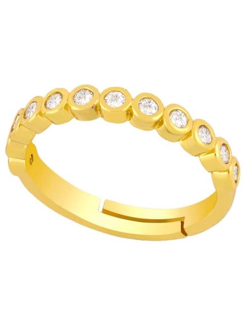 CC Brass Rhinestone Round Vintage Band Ring 2