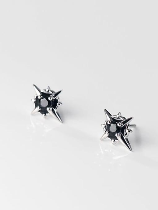 Rosh 925 Sterling Silver Cubic Zirconia Cross Trend Stud Earring