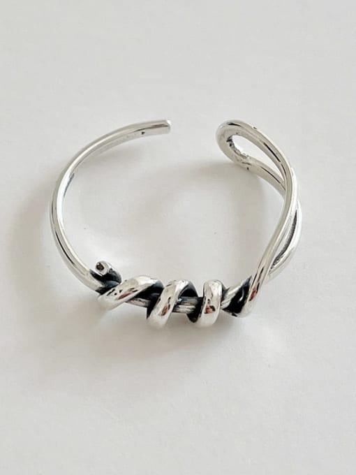 Knitting ring j1582 1.7g 925 Sterling Silver Twist  Irregular Vintage Band Ring