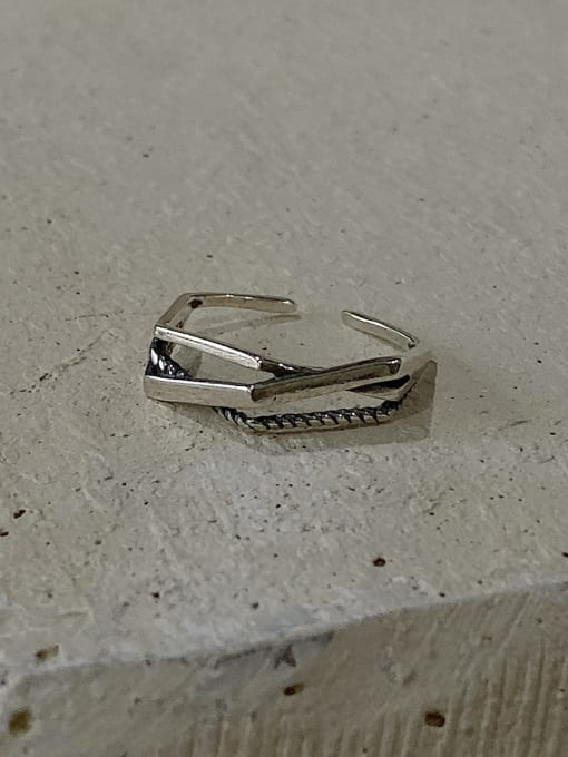 Boomer Cat 925 Sterling Silver Irregular Vintage Stackable Ring 2