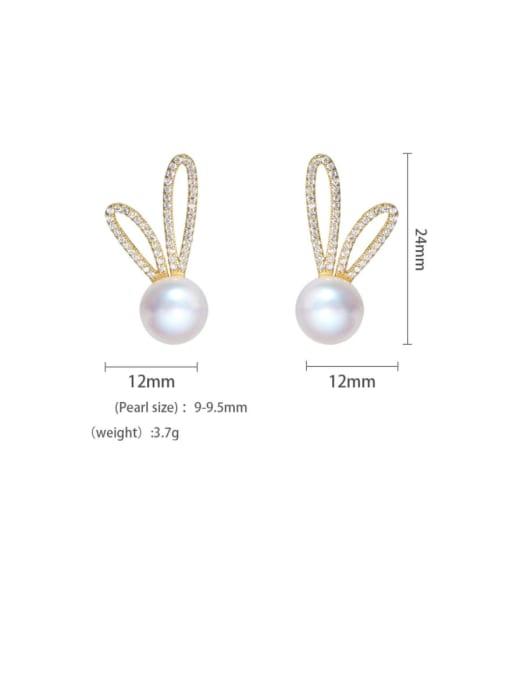 Freshwater Pearl Earrings Brass Cubic Zirconia Irregular Minimalist Rabbit ears Stud Earring