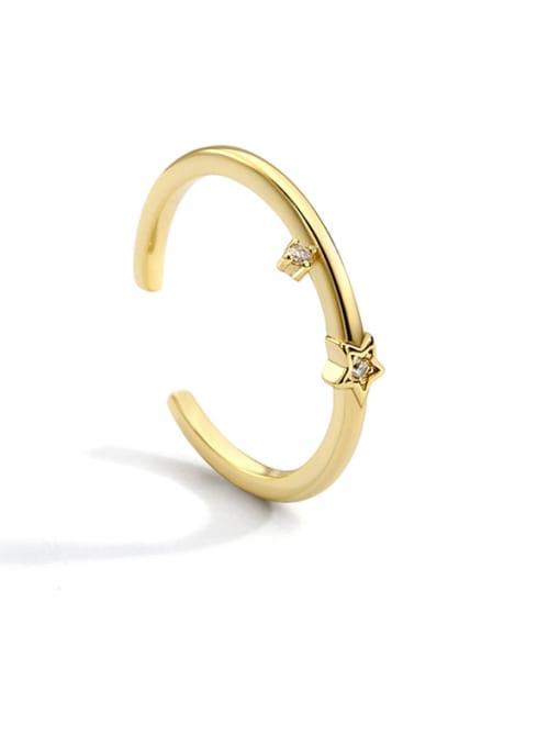 CHARME Brass Cubic Zirconia Irregular Minimalist Band Ring 0