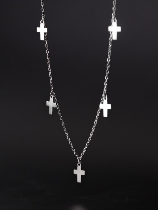 Rosh 925 Sterling Silver Smooth Cross Minimalist Necklace 1
