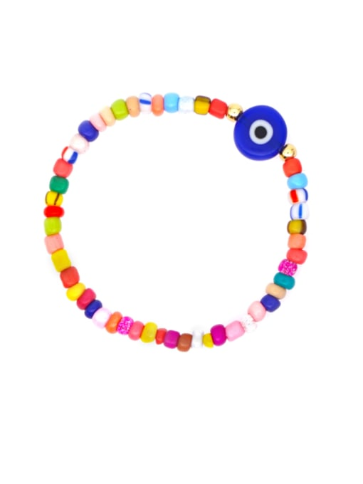 Roxi Stainless steel  Glass Bead Multi Color Smiley Bohemia Stretch Bracelet
