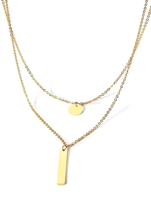 CONG Stainless steel Geometric Minimalist Multi Strand Necklace 3