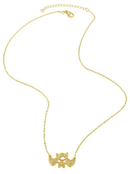 CC Brass Cubic Zirconia Angel Hip Hop Necklace 2