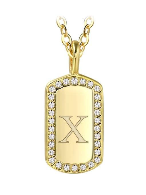 Gold Letter  X Brass Rhinestone Letter Minimalist Necklace