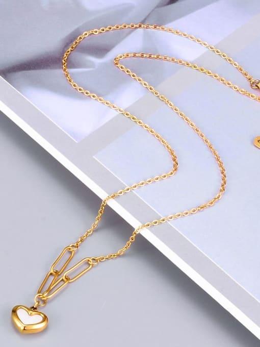 A TEEM Titanium Shell Heart Minimalist Necklace 2