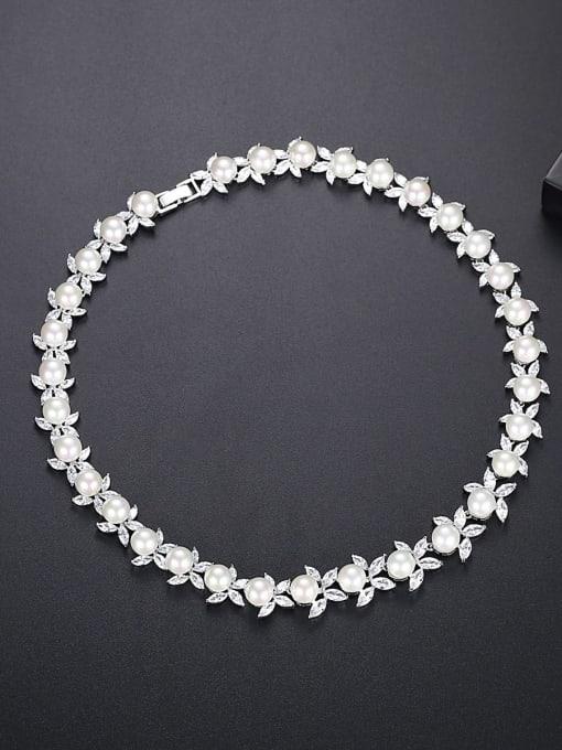 BLING SU Brass Imitation Pearl Flower Luxury Necklace 0