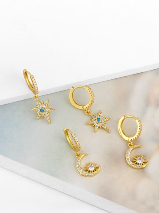 CC Brass Cubic Zirconia Star Hip Hop Huggie Earring 4
