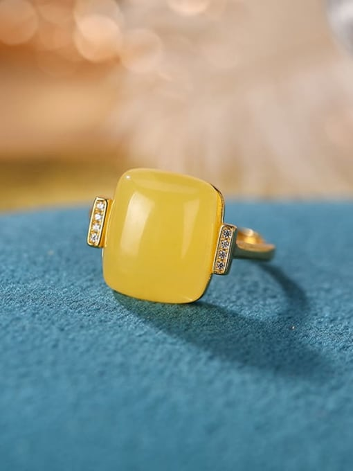 DEER 925 Sterling Silver Opal Square Minimalist Band Ring 1