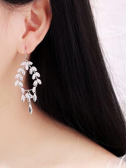 Luxu Brass Cubic Zirconia Geometric Minimalist Hook Earring 2