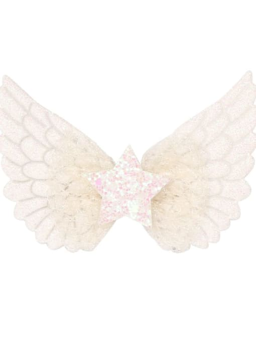 5 Angel white Alloy  Silk Cute Butterfly Multi Color Hair Barrette