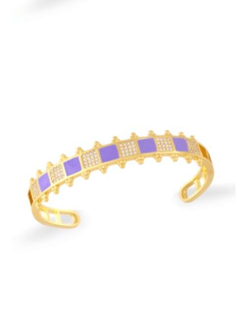 purple Brass Cubic Zirconia Multi Color Geometric Vintage Cuff Bangle