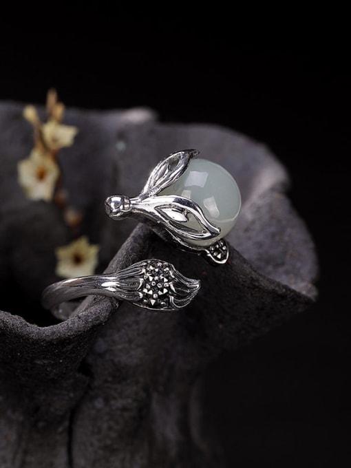 DEER 925 Sterling Silver Jade Fox Vintage Band Ring