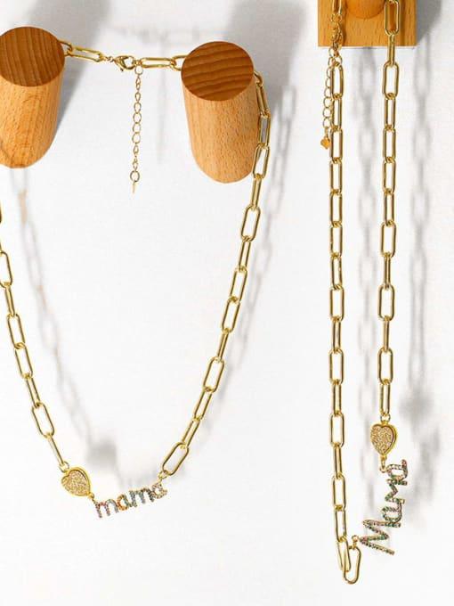 CC Brass Cubic Zirconia Letter MAMA Minimalist Pendant Necklace 4