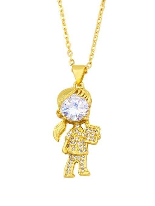 CC Brass Cubic Zirconia Ange girl boy  Minimalist Necklace 1