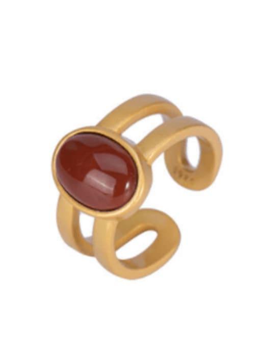 DEER 925 Sterling Silver Carnelian Geometric Vintage Stackable Ring