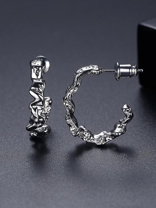 Platinum t05i10 Copper Geometric Minimalist Stud Earring