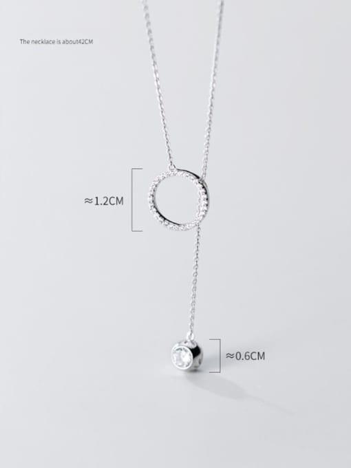 Rosh 925 Sterling Silver Rhinestone White Round Minimalist Lariat Necklace 1