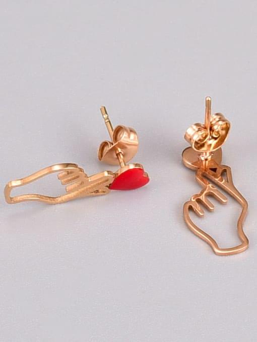 A TEEM Titanium Steel Enamel Hand Of Gold Minimalist Stud Earring 2