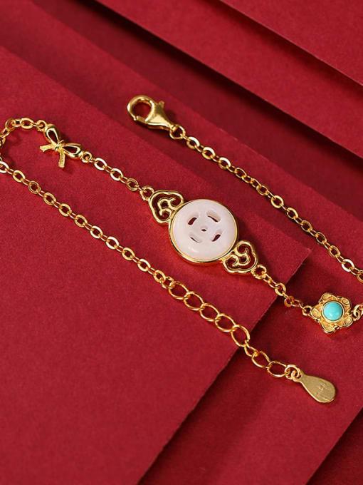 DEER 925 Sterling Silver Jade Geometric Minimalist Link Bracelet 1