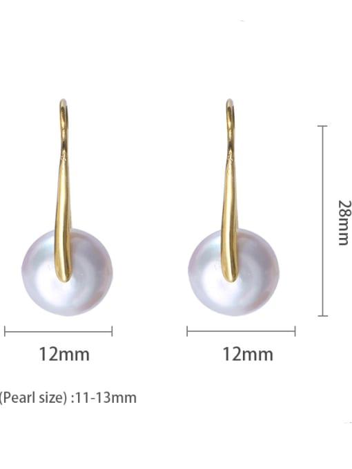 golden Brass Freshwater Pearl Geometric Minimalist Stud Earring