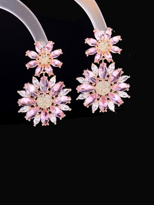 Luxu Brass Cubic Zirconia Flower Luxury Drop Earring 0
