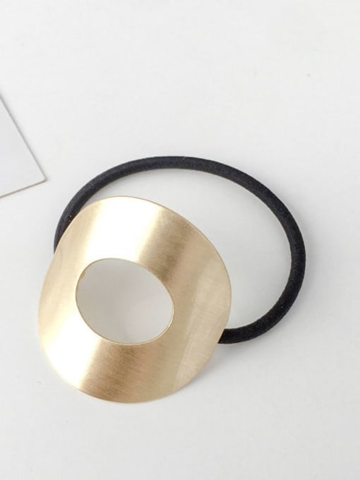 7 gold hollow round Rubber band Minimalist Geometric Alloy Hair Rope