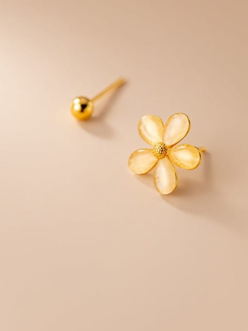 Rosh 925 Sterling Silver Cats Eye Asymmetric  Flower Bead  Minimalist Stud Earring 1