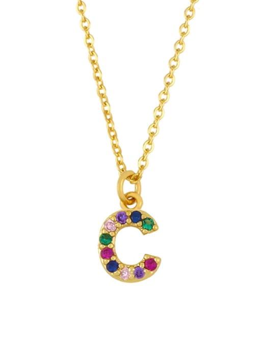 CC Brass Cubic Zirconia Letter Vintage Necklace 3