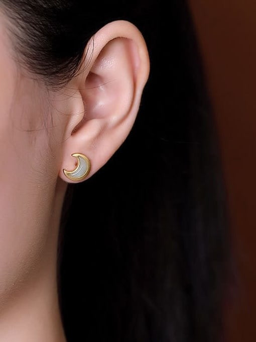 DEER 925 Sterling Silver Jade Moon Cute Stud Earring 2