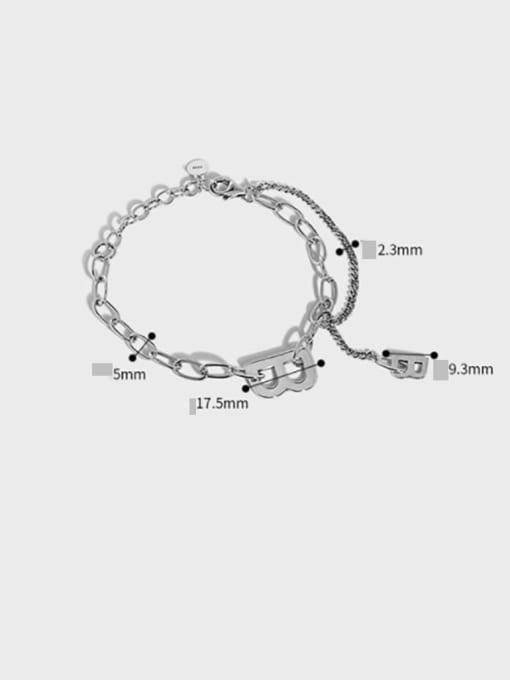 DAKA 925 Sterling Silver Irregular Vintage Hollow Chain Link Bracelet 4