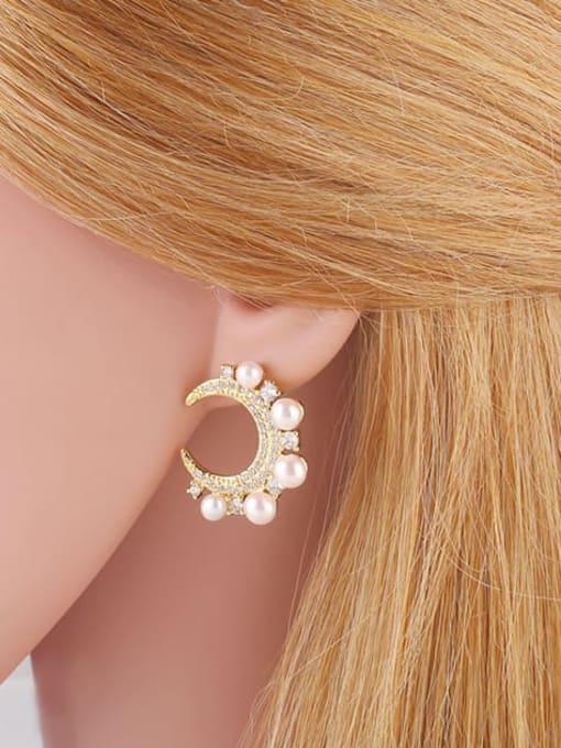 CC Brass Cubic Zirconia Moon Dainty Stud Earring 1