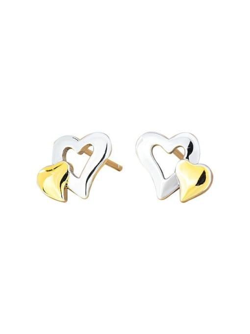 XBOX 925 Sterling Silver Heart Minimalist Stud Earring 3
