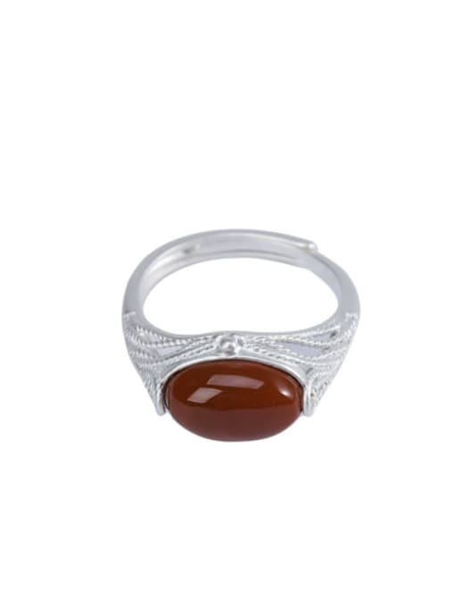 DEER 925 Sterling Silver Carnelian Geometric Vintage Band Ring 3