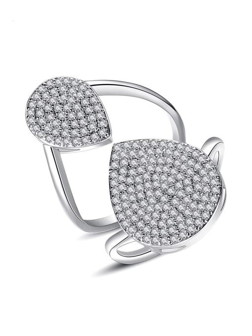 BLING SU Copper Cubic Zirconia Geometric Luxury Band Ring
