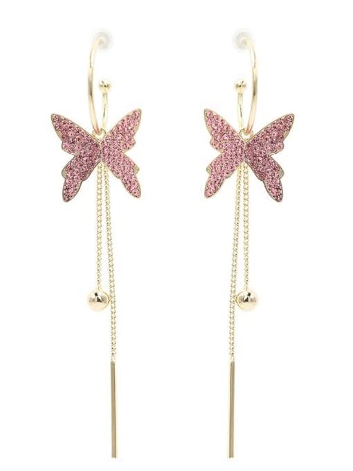 Luxu Brass Cubic Zirconia Butterfly Trend Threader Earring 3