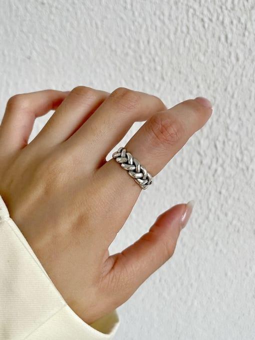 Knitting ring j127  3.2g 925 Sterling Silver Hollow Irregular Vintage Band Ring