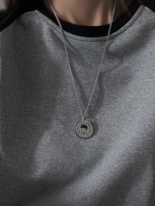 A TEEM Titanium Steel Round Minimalist Necklace 1