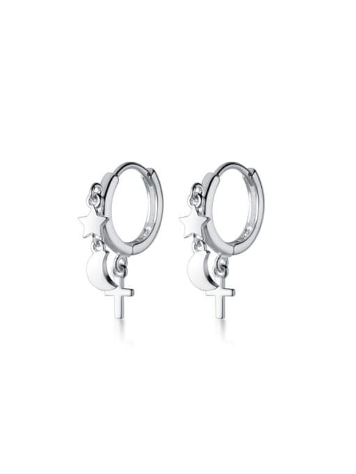 Rosh 925 Sterling Silver Minimalist Simple Pentagram Moon Cross Huggie Earring 0