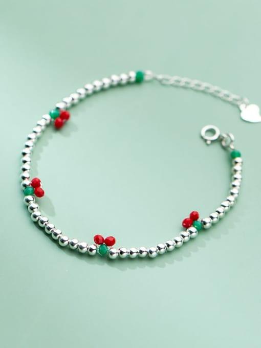 Rosh 925 Sterling Silver Bead Friut Vintage Beaded Bracelet