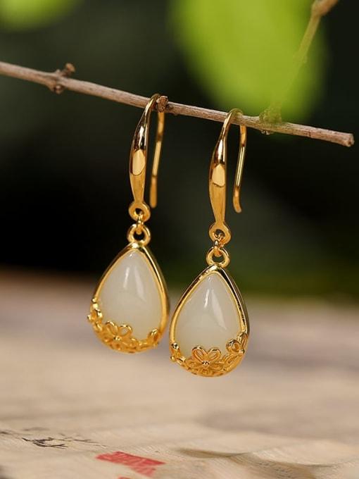 DEER 925 Sterling Silver Jade Water Drop Vintage Hook Earring 2