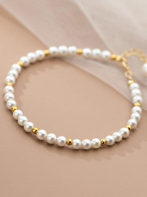 Rosh 925 Sterling Silver Imitation Pearl Geometric Minimalist Beaded Bracelet