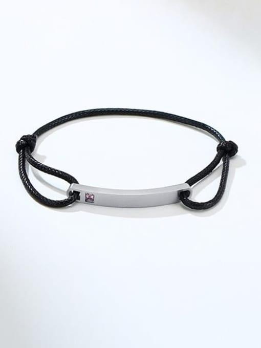 CONG Titanium Steel Rhinestone Geometric Vintage Adjustable Bracelet 2