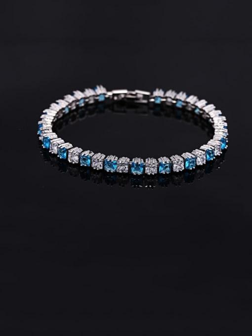 Light blue 18.2cm Brass Cubic Zirconia Geometric Classic Bracelet